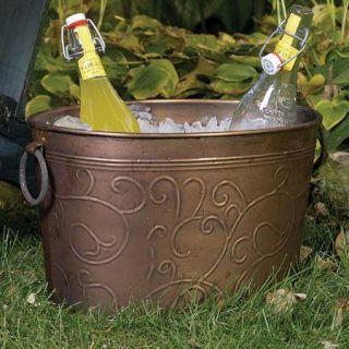 Large Copper Colored Vine Imprint Beverage Storage Tub with Handles
