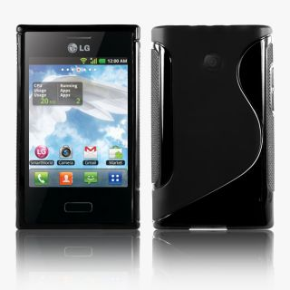 Line Wave Gel Case Cover for LG E400 LG Optimus L3 Screen Protector