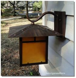 Faux Copper Outdoor Porch Garden Wall Light Fixture Arts and Crafts