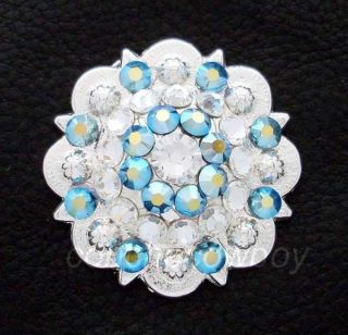 Set of 2 WESTERN BRIGHT SILVER CRYSTAL RHINESTONE CONCHOS 1 1/2