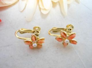 Vintage Gold Tone Coral Faux Pearl Flower Screw Back Clip on Earrings
