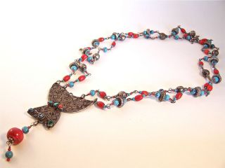 Turkish Turquoise Red Coral Necklace Ethnic Antique Silver Pendant