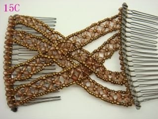 1x Brown Crystal beads Stretchy EZ Double Hair Combs Clips For Girls