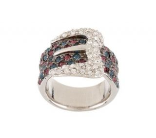 Kenneth Jay Lanes Pave Crystal Buckle Ring —