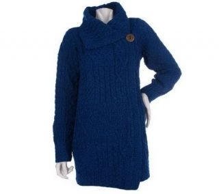 Merino Wool Aran Stitch One button Sweater Coat   A219202