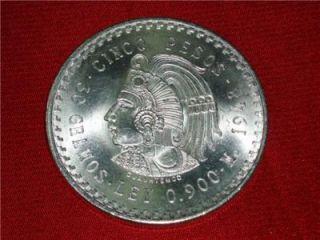 1948 Cuauhtemoc 90 Silver Aztec Ruler Cinco Pesos Mexico Ace 15