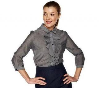 As Is Isaac Mizrahi Live 100% Cotton Ruffle Chambray Blouse