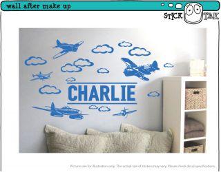 Custom Name Vinyl Wall Sticker for Boys Removable Art Decal Plane