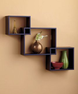 Wall Decoration on Modern Rectangle Cube Wall Shelves Display Decor Wooden Black