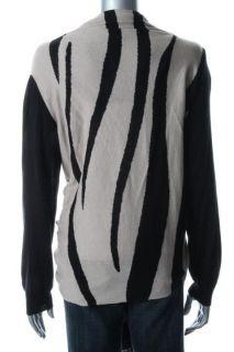 DKNY New Cozy Beige Striped Multi Way Long Sleeve Cardigan Sweater Top