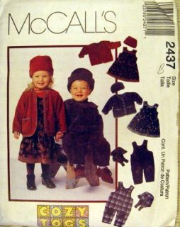 Cozy Togs Sewing Pattern Toddler Jacket Overalls 2 4yr