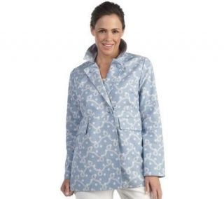 Liz CLaiborne New York Printed Canvas Double Breasted Jacket   A212765