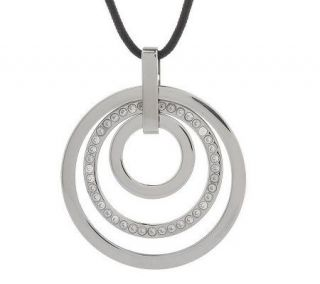 Diamonique Stainless Steel Multi circle Pendant with Cord —