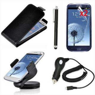 Funda Cuero+Soporte+Cargador coche+Stylus+Protector Para Samsung