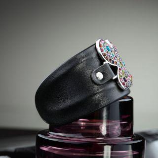 Black Leather Rhinestone Butterfly Cuff Bracelet Multicolor