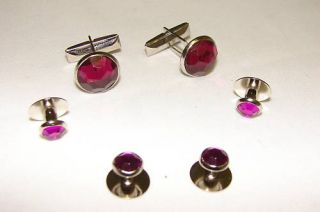 Purple Silver Tuxedo Cufflinks Studs Tux Cuff Links 37