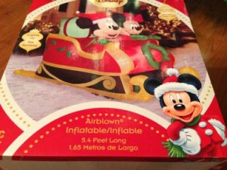 Christmas Disney Mickey and Minnie Mouse Sleigh Airblown Inflatable