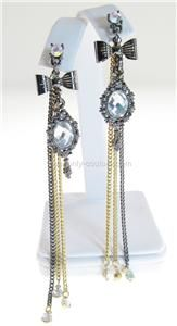 Betsey Johnson Tzarina Princess Mirror Charm Linear Chain Drop Stud