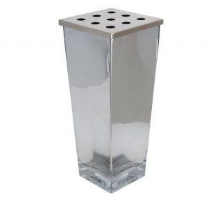 Linda Dano Silver Plated 12 Glass Vase w/ Diffuser Lid —