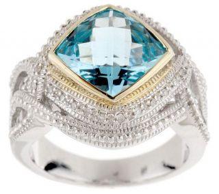 Judith Jack 1/10 cttw Diamond & 4.25c Blue Topaz Sterling Ring