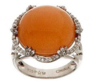 11.75 ct tw Moonstone & White Topaz Bold Sterling Ring —
