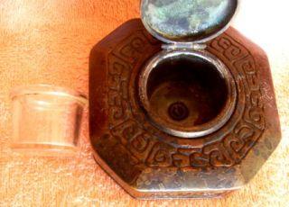 LCT Tiffany Zodiac Bronze Dore Inkwell w Glass Insert
