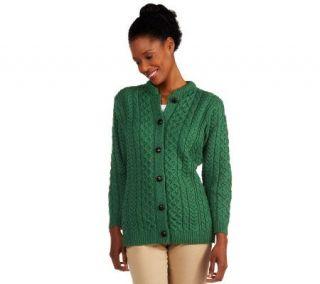 Kilronan Merino Wool Button Front Round Neck Aran Cardigan   A214732
