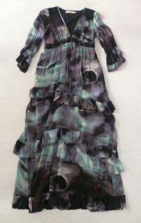 Cris Barros Long Flowing Black Panther Print Silk Dress 40 UK 12 BN