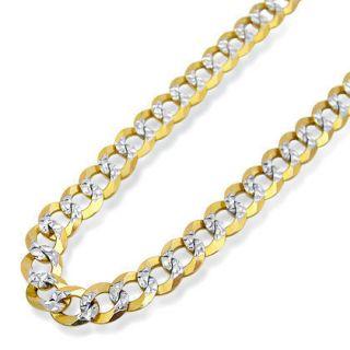 Mens 10K Yellow Gold Curb Cuban Link Chain 26 inch 4 7mm