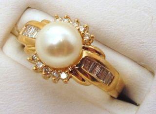 Diamonds 0.25ct VS2 Pearl Cultured 7mm 14K Yellow Gold Ring