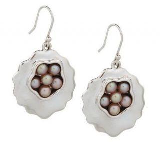 Hagit Gorali Sterling Cultured Pearl Cluster Organic Dangle Earrings