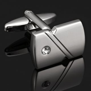 New Elegant Mens Cufflinks Stainless Steel CZ Lining Cuff Links in a