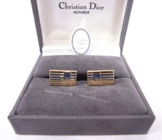 Authentic Christian Dior Gold Color Cufflinks w Box