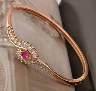 Amazing 9K Rose Gold Filled CZ Ruby Womens Bracelet F255