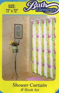 PINK / CREAM FLORAL VINYL SHOWER CURTAIN + RINGS