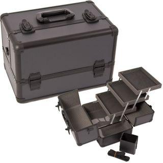 Makeup Train Case w/ Brush Cup Holder Shoulder Strap 3 trays M403 Dot