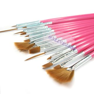 15 Pcs Nail Art Cosmetic Tools Polish Pen Brush Set DIY UV Gel