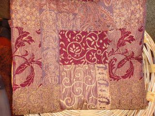 Royalton Shower Curtain Red Burgundy Gold Floral Primitive Homespun