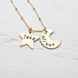 Custom Gold Star and Moon Necklace Personalized Jewelry in 14K