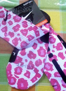 Custom Nike Pink Leopard Elite Basketball Socks Foamposite Jordan