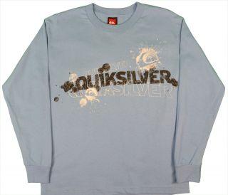 Quiksilver Boys Size 8 16 Logo Shirt Sky Blue