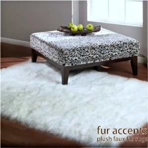 Faux Fur Rug Sheepskin Accent Rugs Bear Coyote Wolf Shag Throw Bright