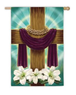 Draped Cross Easter Decorative Large House Flag