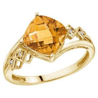 Cushion Citrine Diamond Cocktail Ring 14k Yellow Gold