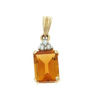 Gold 1 37ctw 6 x 8 mm Emerald Cut Citrine and Diamond Pendant