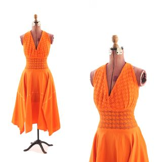 70s Bright Orange Cotton Summer Halter Fairy Cut Sheer Crochet DRESS M
