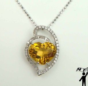 Gold Diamond Heart Pendant Necklace Stunning Citrine Scorpio