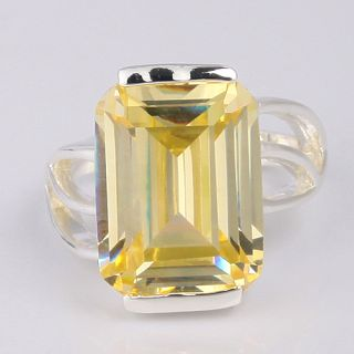 Fantastic Jewelry Rectangle Cut Citrine Topaz Silver Rings Size 9