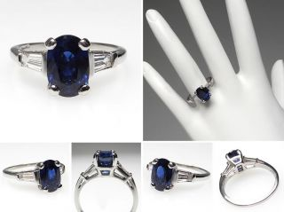 oval cut blue sapphire tapered baguette diamond engagement ring solid