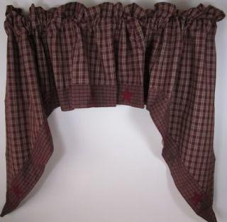 Burgundy Tan Plaid Applique Star Lined Cotton Curtain Swags 72x36